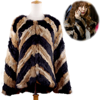real rabbit fur jackets knitted Fur Outwear Made by two color stripe real fur coat fur coats Wholesale and Retail Happihop new