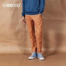 SIMWOOD 2020 봄 새로운 단단한 바지 남자 고전적인 기본적인 바지 100% 면 고품질 남성 상표 의류 190435
