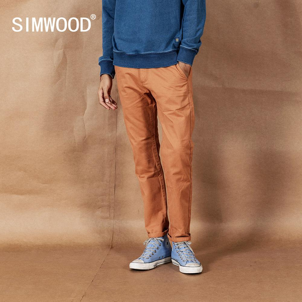 SIMWOOD 2020 Spring New Solid Pants Men Classical Basic Trousers 100% Cotton High Quality Male Brand Clothing 190435