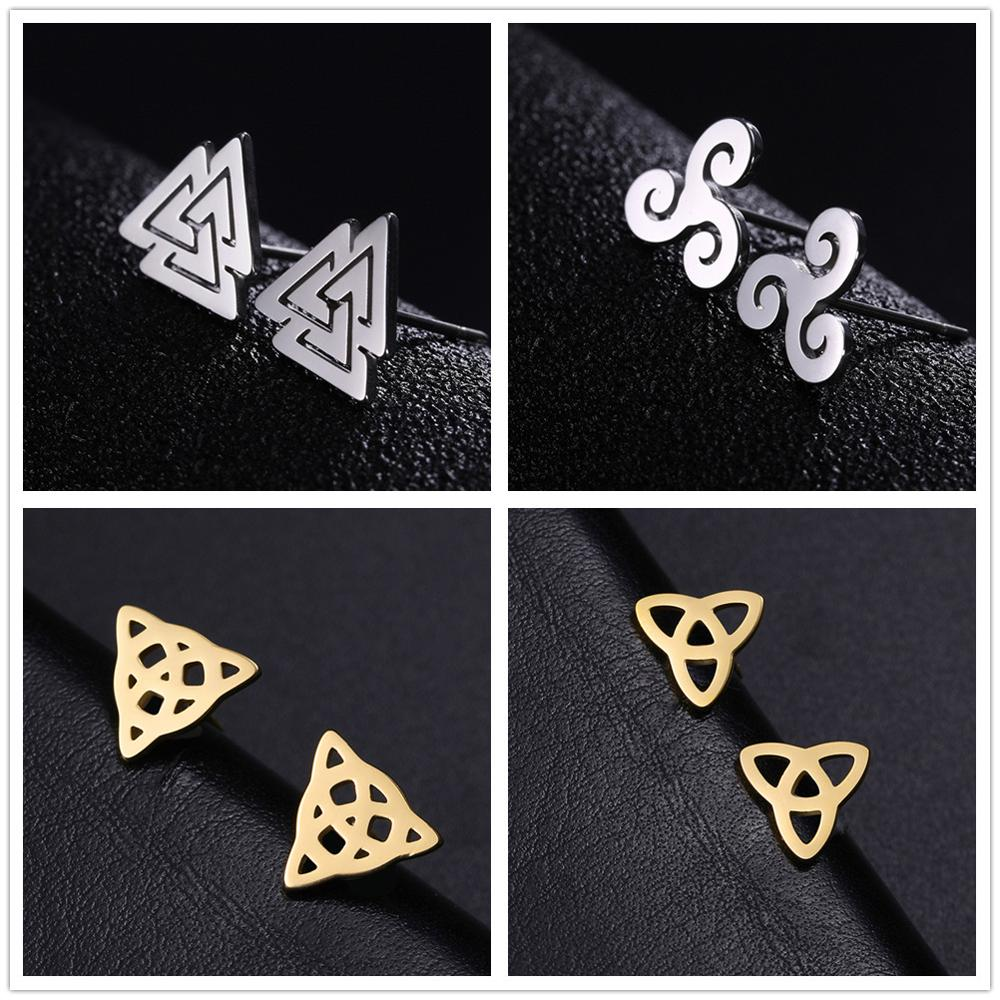 Skyrim Viking Earring Studs Women Valknut Triskelion Irish Knot Stainless Steel Gold Color Black Mini Stud Earrings Jewelry Gift