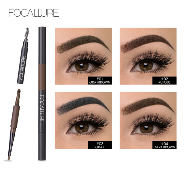 FOCALLURE Eyebrow Pencil 3 in 1 Auto Waterproof Eye Makeup Brow Shades Brush Powder Tint No Tone Long Lasting Eyebrow Pencil