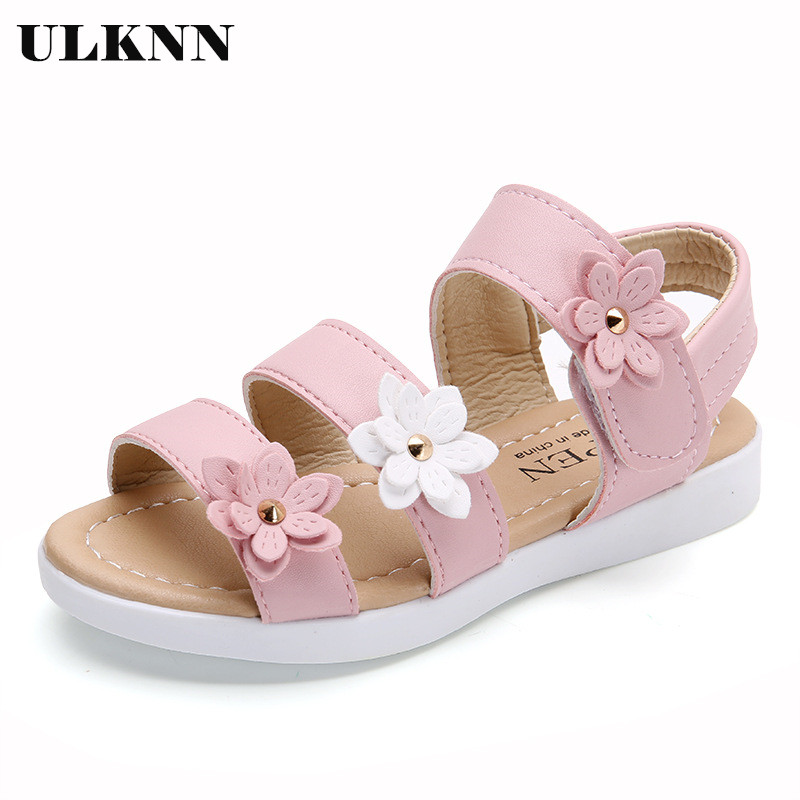 ULKNN Summer Kids Girls Sandals Fashion Casual Children Sandals Girls Big Flower Flat Pricness Shoes Pink White Size 21-36