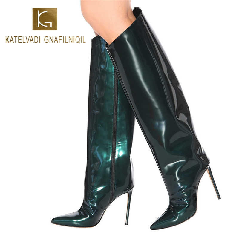 KATELVADI Knee High Boots Women Fashion Patent PU 10CM Thin Heel Catwalk Show Woman Shoes Winter Sexy Party Boots Large K-574
