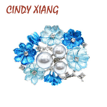 цена на CINDY XIANG Blue Color Enamel Flower Brooches For Women Pearl Brooch Pin Spring Design Elegant Brooch High Quality New 2020
