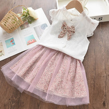 Kids Girl Mesh Dress 2020 New Summer Girls Floral Dress Flowers Pattern Bow-knot Party Costumes Girls Vestidos Clothing 3 7Y girl elegant party dress new summer kids tiered mesh dress sweet solid costumes princess suit children clothing 3 7y