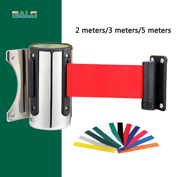 Crowd Control Outdoor Stainless Steel Wall Mount Red Belt Retractable Ribbon Barrier Sport Stanchion Queue 2m3m/5m