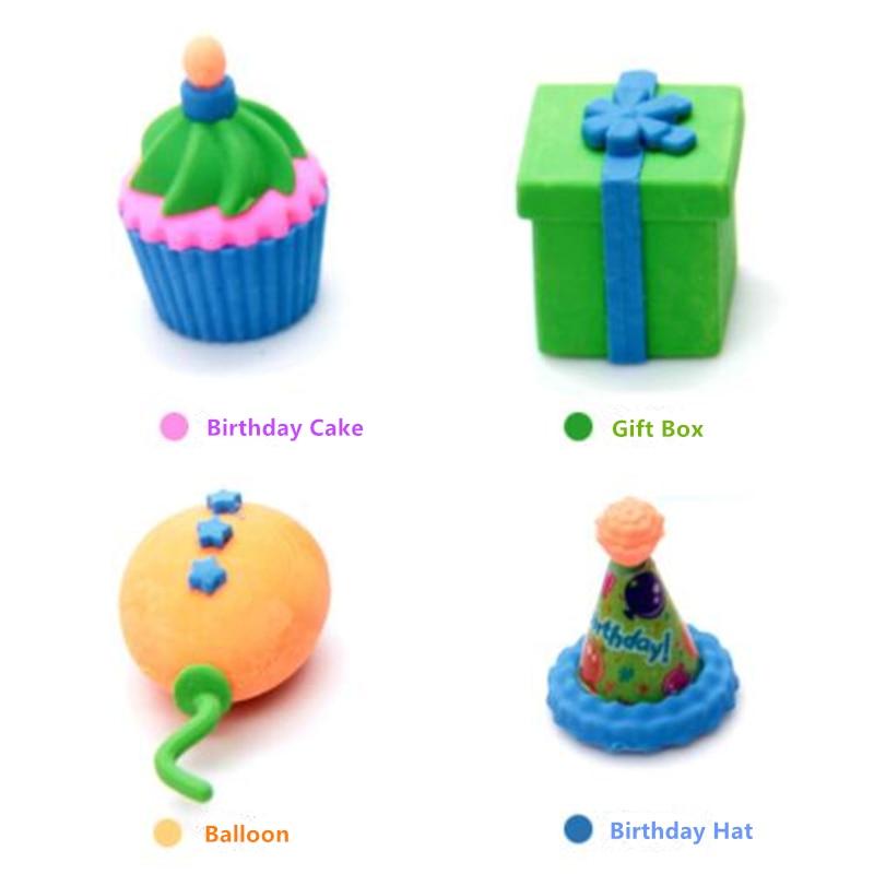 Happy Birthday Cake Eraser Sets Cartoon Gift Box School Eraser Korean Stationery Ballon Hat Magic Eraser For Kids 8 Pcs Per Lot