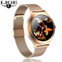 LIGE New Smartwatch Women Blood Pressure Blood Oxygen Monitoring Fitness Tracker Round Full Touch Smart Watch for Android iOS