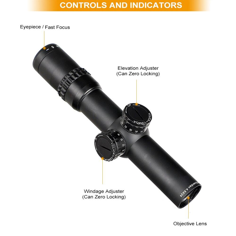 Ohhunt 4,5 X24 Compact Jagd Zielfernrohr 1/2 Halb Mil Dot Draht Absehen Optische Sehenswürdigkeiten mit Türmchen Reset Taktische Zielfernrohr