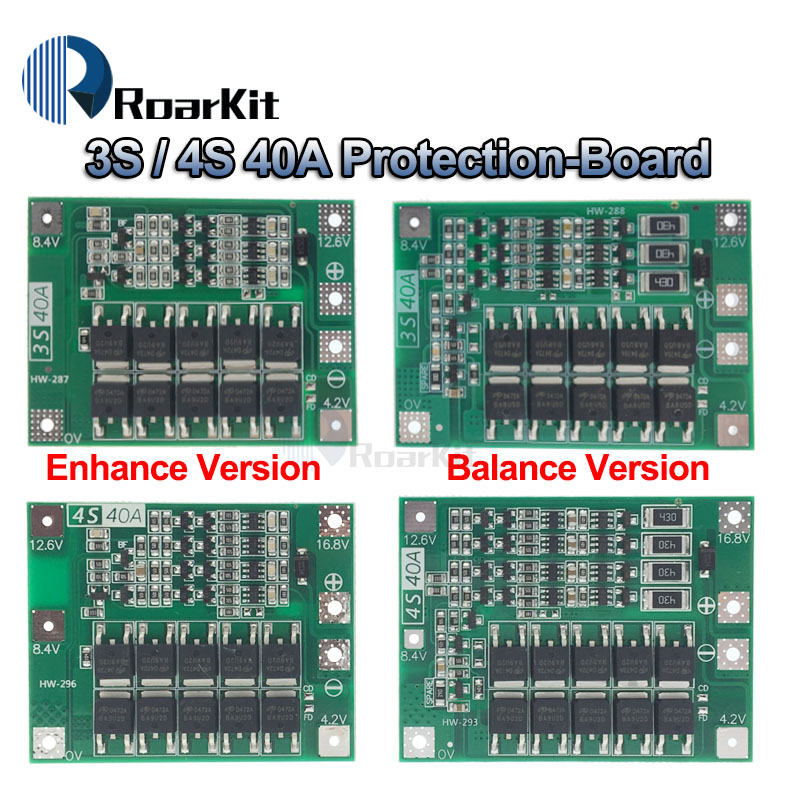 3S/4S 40A Li-ion Lithium Battery Protection Board 18650 Charger PCB BMS For Drill Motor 11.1V 12.6V/14.8V 16.8V Enhance/Balance