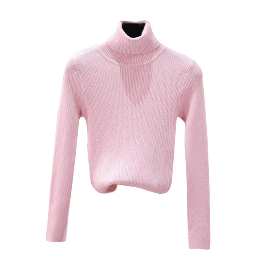 ผู้หญิงเสื้อถักเสื้อกันหนาว 2019 ฤดูใบไม้ร่วงฤดูหนาว Slim เสื้อกันหนาวเสื้อกันหนาว Slim ยาวแขนถักหญิงเสื้อจัมเปอร์