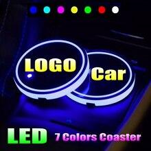2x led logotipo copo luz luminosa porta-copos bebidas suportes para suzuki vitara jimny swift ignis vitara s baleno kizashi respingo xl7