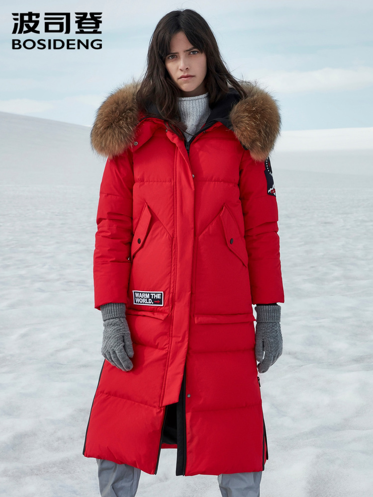 BOSIDENG 2019 New Women's Winter Large Real Ful Collar Velvet Down Jacket Hooded Long Coat B90142034V
