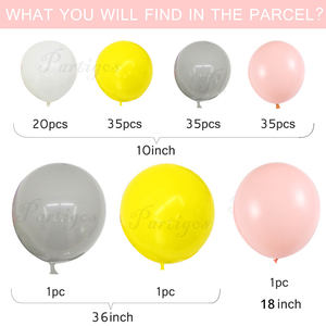 """Image 2 - 130pcs Macaron Balloon Arch Garland 10"""" 36"""" Gray Yellow Balloon With Artificial Leaf For Wedding Birthday Event Party Decoration"""
