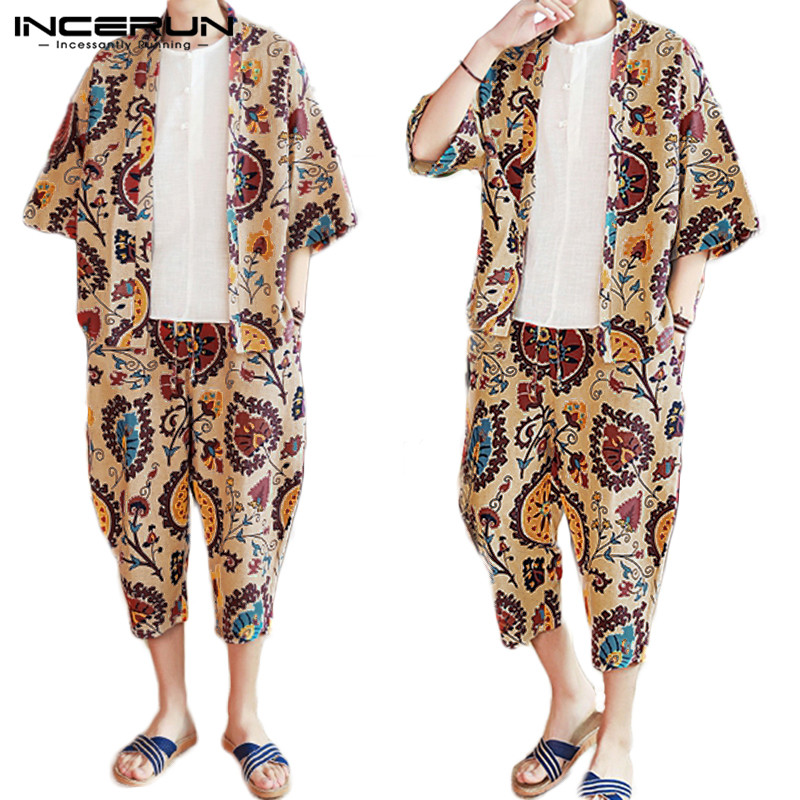 INCERUN Fashion Men Funny Printed Half Sleeve Kimono Shirt+Shorts Sleepwear Sets Homewear Comfort Cotton Soft Mens Pajamas Suit