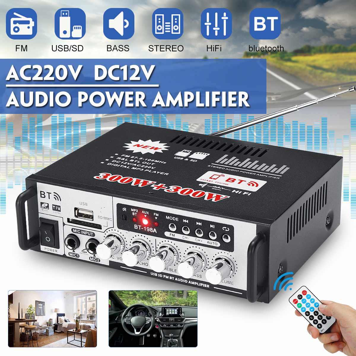 600W AC220V DC12V HIFI Power Amplifier Wireless bluetooth Bass Audio FM Radio U Dish TF Card Power Amplifier Home Amplifier