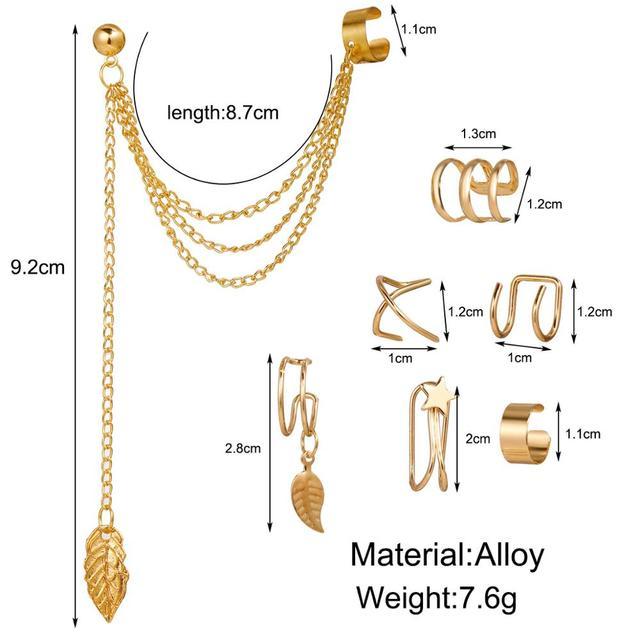 7 pçs moda estrela de ouro folhas não-piercing orelha clipe brincos para mulheres simples falso cartilagem orelha manguito jóias clipe acessórios 6