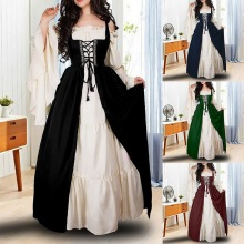 Halloween Dress Women Princess Costume Renaissance Cosplay Medieval Vintage Long Evening Bandage Party Vestidos Ropa Mujer