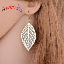 Awevsh 2019 noticias joyería fina Bohemia Vintage pendientes hojas huecas diamantes de imitación gota pendientes para mujer