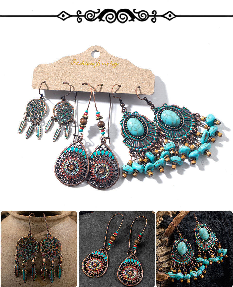 Ha90b51b355a24646985c70b27b3f62f1N - Multiple Women's  Boho Ethnic Drop Earrings