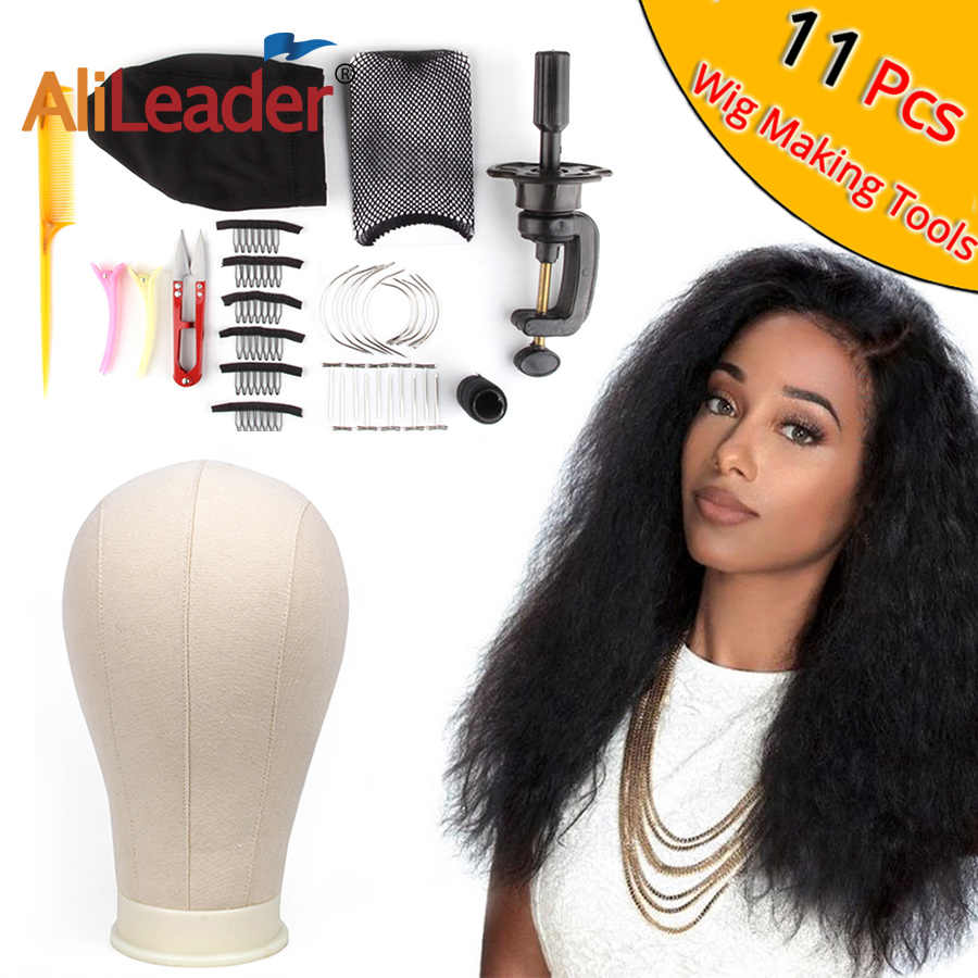 "AliLeader 21""-25"" Professional Canvas Block Mannequin Head Stand Wig Cap For Wig Making Kit Tools Holder Hair Net T Pins Comb"