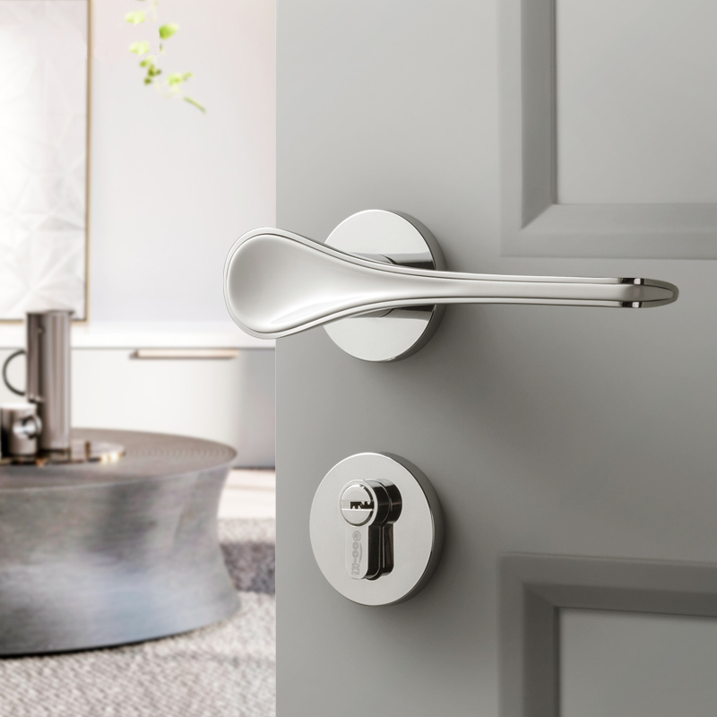 Poignée de porte en alliage de zinc chromé + blanc brillant intérieur/serrure de porte de chambre serrure de porte silencieuse fendue, quincaillerie de porte