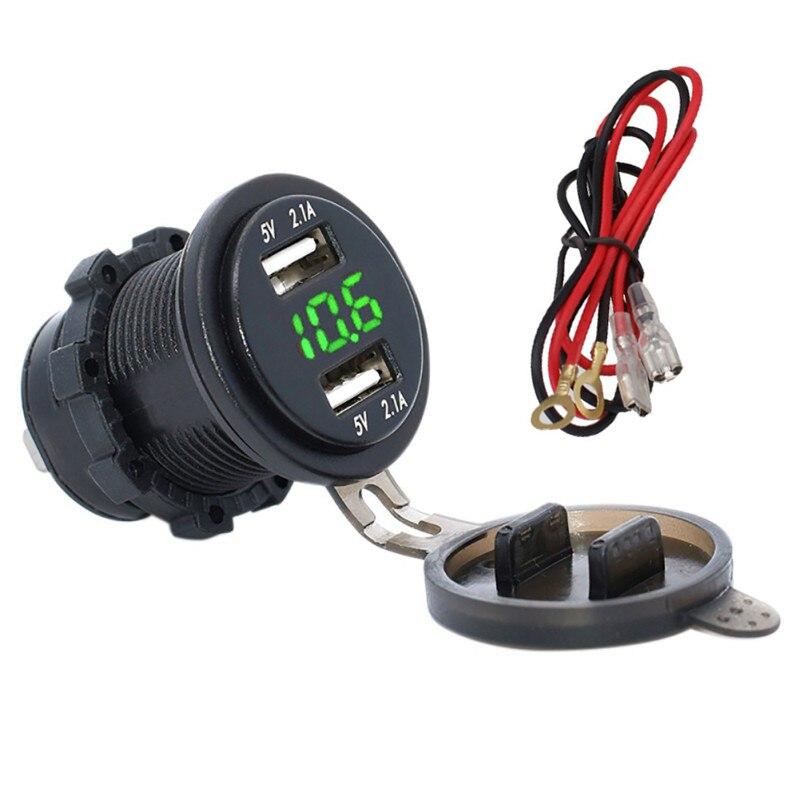 Car Motorcycle Dual USB Charger Led Digital Voltmeter 6-40V Waterproof Power Outlet 4.2A Socket ATV Boat 12-24V Universal New