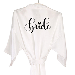 Image 2 - dusty pink bride robe love design satin women team bride robe bridesmaid sister mother grandmother of the bride kimono robes