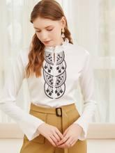 Moda feminina borda da orelha gola superior 2021 primavera e outono nova chaozhou chiffon camisa manga camisa feminina