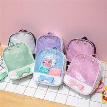 Transparent Kawaii Bow Women Backpacks Ita Bag Harajuku Clear Pvc School for Teenager Girls Rucksack Cute Beach Backpack