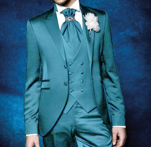 ANNIEBRITNEY Shiny Blue Men Suits Sets 2019 Wedding Prom Formal Groom Tuxedo Tailored Made Slim Fit Blazer Vest Pants 3 Pieces