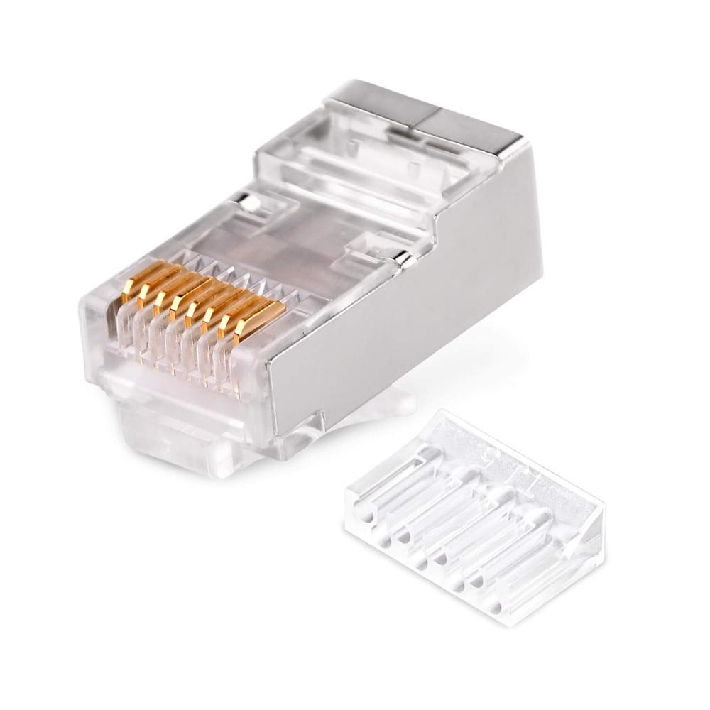100pcs RJ45 Network Connector Modular Plugs Shielded Connectors Cat6 Cat5e