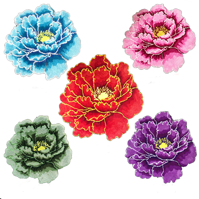 New arrival flower rug flocking rose mat flower carpet flocking rug for living room(China)