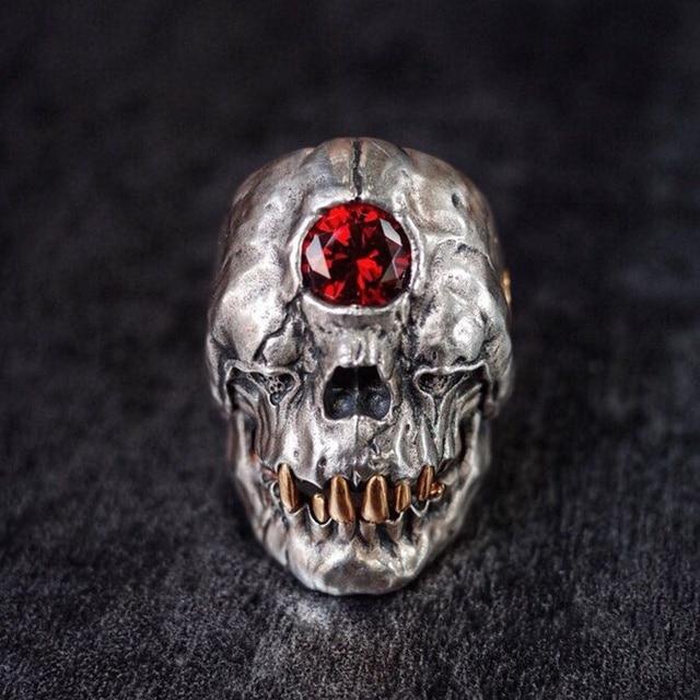 Vintage acier inoxydable crâne anneau ancien grec mythe cyclope anneaux pour moto fête Steampunk gothique anneaux pour hommes bijoux