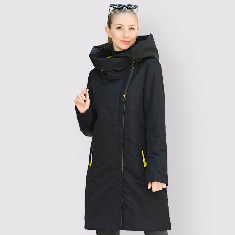 DOCERO 2021 Designer New Spring Autumn Women´s Parkas Thin Cotton Jacket Long Windproof Stylish Hooded Coat Plus Size Outerwear