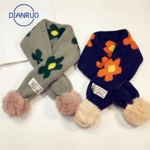 Cross-Scarf Flower Jacquard Knitting Warm Small Autumn Winter Children's And Bib DIANRUO