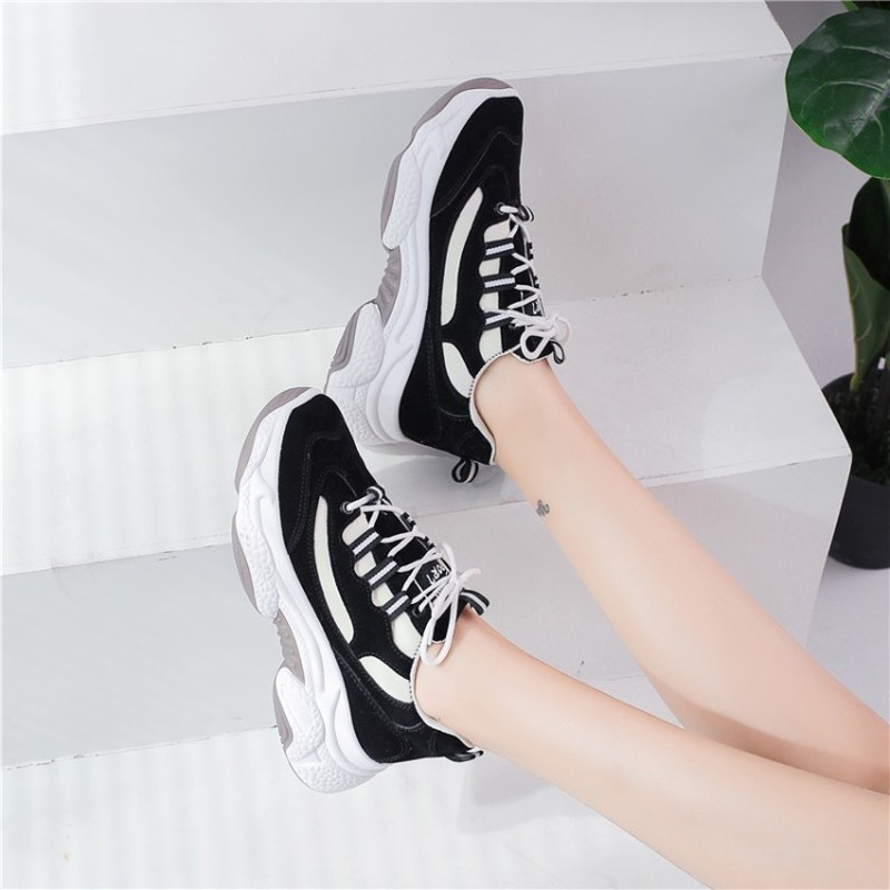 Women Platform Chunky Sneakers Korean Fashion Mixed Colors Casual Shoes Tennis Female Lace Up Woman Vulcanized Shoes K19-33