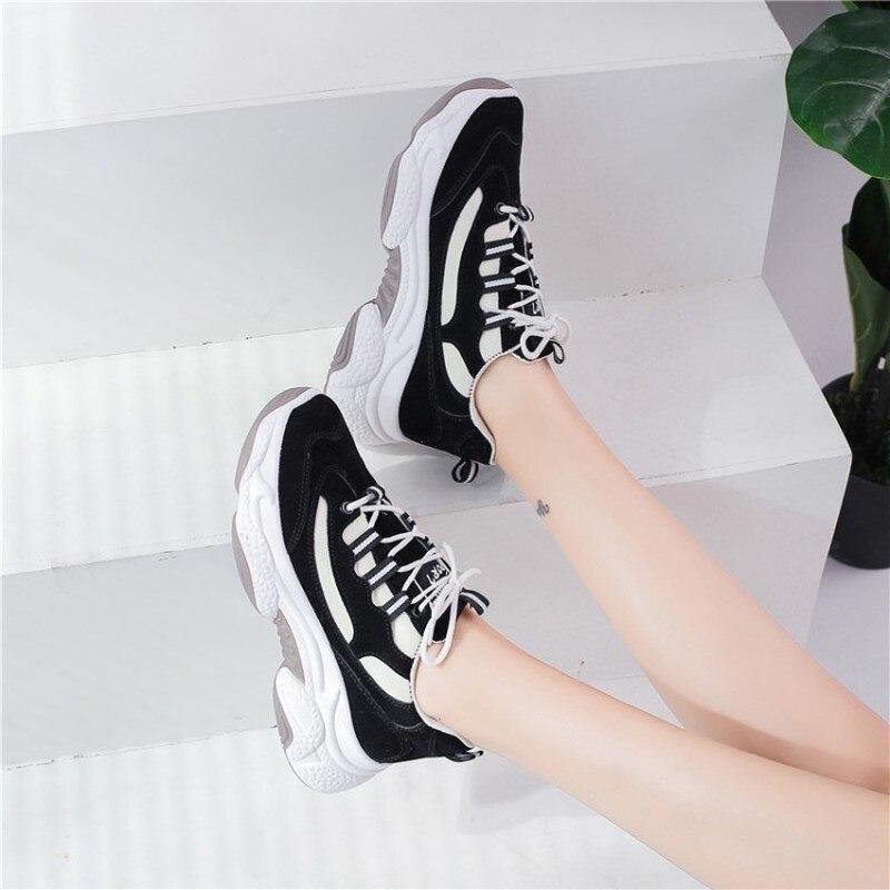 Zapatillas gruesas con plataforma para mujer zapatos casuales de colores mixtos de moda coreana con cordones para mujer zapatos vulcanizados K19-33 QIBU azul PU cuero grueso brillo tela sirena brillante Multi tamaño DIY pelo arco tela hecho a mano bolsos zapatos accesorios cuero