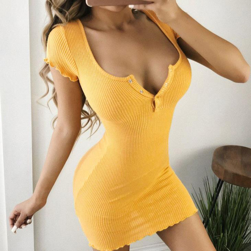 Summer <font><b>Slim</b></font> <font><b>Dress</b></font> 2020 Women <font><b>Sexy</b></font> Casual Knit Sheath <font><b>Mini</b></font> <font><b>Dresses</b></font> Ladies yellow <font><b>V</b></font> <font><b>Neck</b></font> <font><b>Chest</b></font> <font><b>Button</b></font> Short Sleeve Bodycon <font><b>Dress</b></font> image
