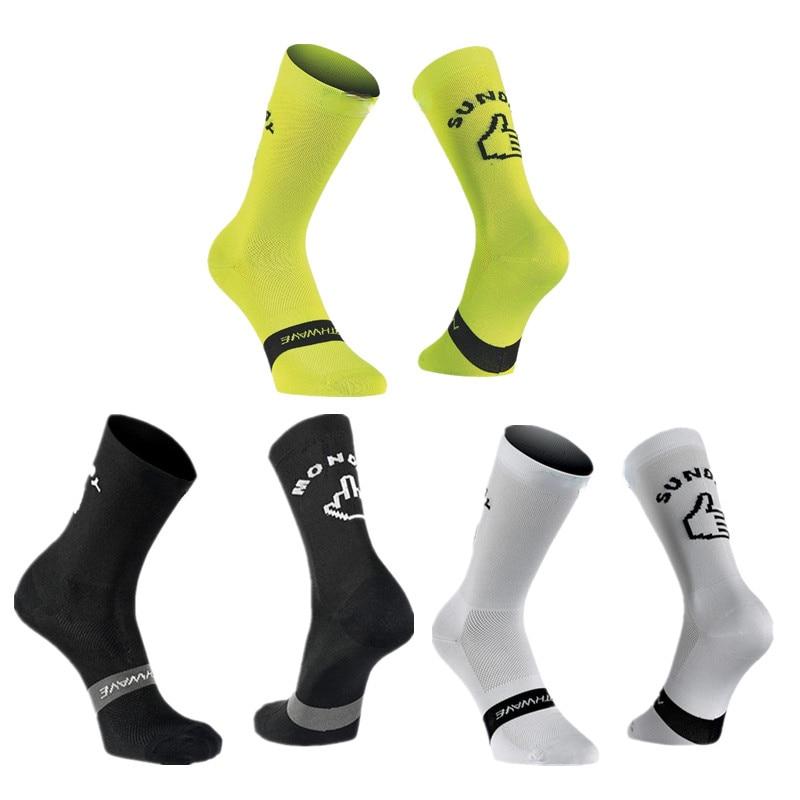 New Sport Running Cycling Socks Monday Sunday Breathable Road Bicycle Socks Men Women Bike Socks