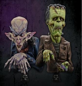 Busto de resina sin pintar a escala 1/12, busto de colección Nosferatu y Frankenstein 2 uds