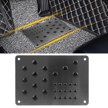 Car Floor Mat Foot Heel Scuff Plate Anti-skid Pad Non-slip Carpet Patch Interior Accessories Auto Alloy Plate Silver Universal image