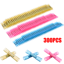 300pcs 22-10AWG Heat Shrink Insulated Butt Wire Splice Crimp Connector Terminal Heat Shrink Terminal Insulated Butt Electrical
