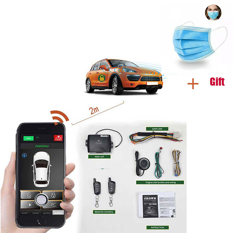 App Keyless Entry Car Alarm System With Pke Remote Start For Central Locking Start Stop Trunk Open With Vibration Sensor Button Aliexpress