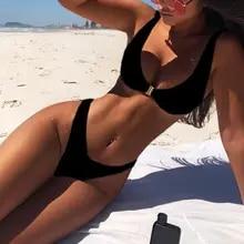 Moda Sexy di Colore Solido Blocco di Metallo Bikini Vestito di Estate Del Vestito Costumi Da Bagno Della Spiaggia Delle Donne di Formato Costume Da Bagno Più A0S2