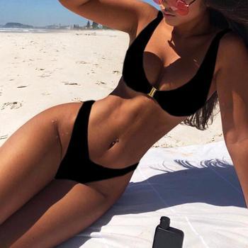 Mode Sexy Couleur Unie En Métal Serrure Bikini Costume Costume D'été Maillots De Bain Femmes Plage Taille Bain Plus A0S2