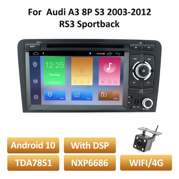 Android DVD Car Radio For Audi A3 8P 2003-2012 S3 2006-2012 RS3 2011 Multimedia 2din Stereo Audio Autoradio Naviation GPS 2 Din image