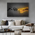 Wall Art Canvas Home Decor Creation of Adam Painting HD Print Neon Lights Modern Posters Cuadros Modular Pictures Living Room