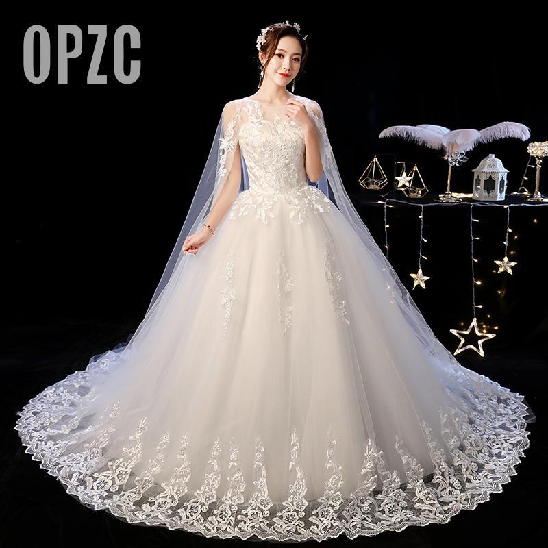 Fashion Buteaful Elegance Luxury Lace Illusion Beackless With Cloak Wedding Dress 2020 AutumnVestidos De Novia Sweetheart Gown