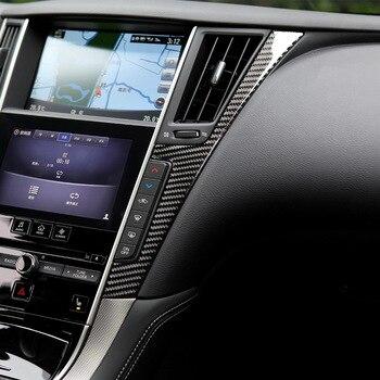 Garniture en Fiber de carbone adaptée pour Infiniti Q50 Q60 Console centrale panneau de Navigation décorer garniture intérieure automobile
